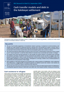 Research in Brief: Cash Transfer Models and Debt in the Kalobeyei Settlement Cover Image