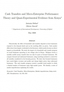 Cash Transfers and Micro-Enterprise Performance: Theory and Quasi-Experimental Evidence from Kenya Cover Image