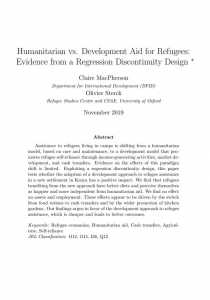 Humanitarian vs. Development Aid for Refugees: Evidence from a Regression Discontinuity Design Cover Image